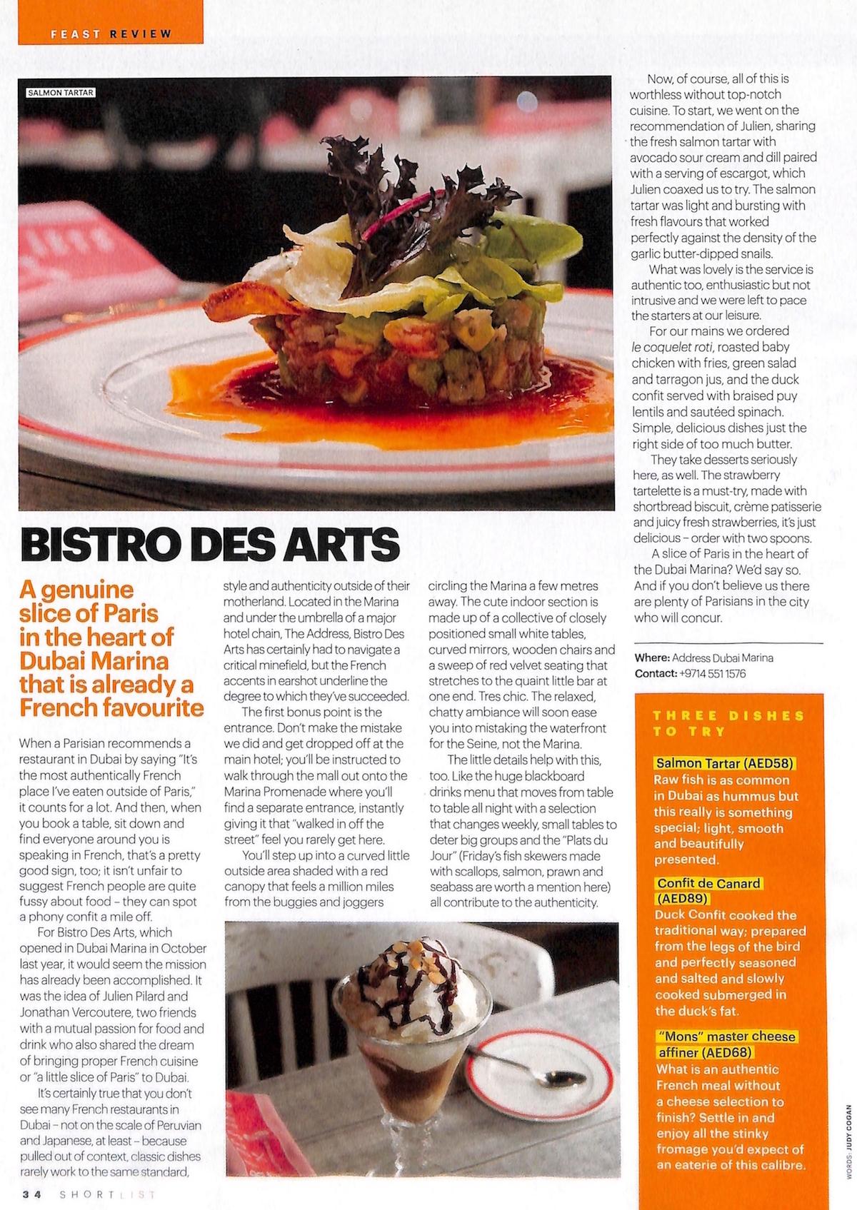 2016 05 24 - Shortlist - Bistro Des Arts